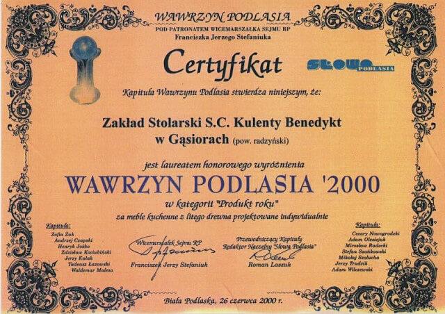 Dyplom Wawrzyn Podlasia dla KULENTY