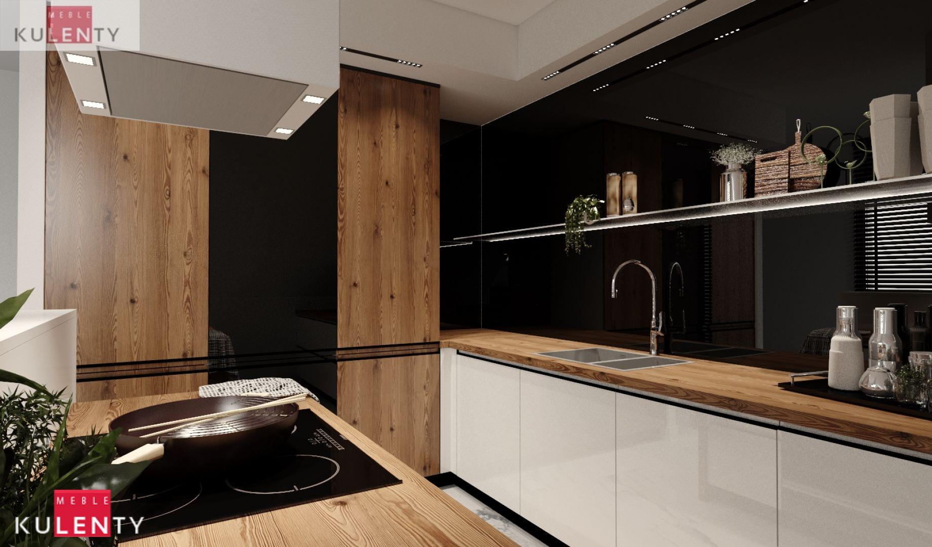Czarny drewno kuchnia projekt UAmn